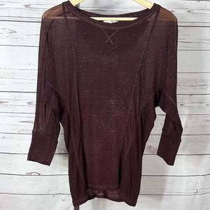 Lucky Brand Lotus maroon red sheer batwing top